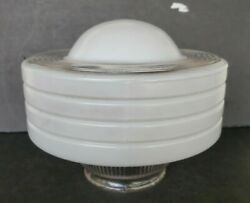 Vintage Mcm Round White Glass Flush Mount School House Ceiling Light Space Age