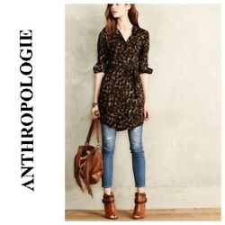 New Anthropologie 11-1 Tylho Womens Camo Tunic Button Blouse Top Belt Xs 2 98