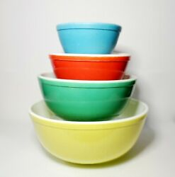 Vintage Pyrex Primary Color Colors Mixing Bowl Bowls Set 1940s 400 Nesting Red