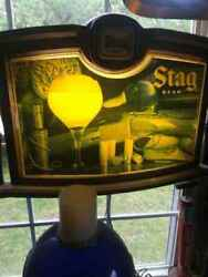 Rare Antique 1900 Stag Beer Wall Light Sign Decor Bar