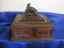 Antique Black Forest Hand Carved Cigar Or Jewellery Box Grouse Bird Germany