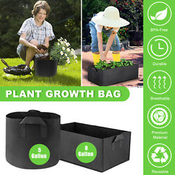 1-4pcs Plant Grow Bags Thickened Nonwoven Aeration Fabric Durable Soil Container