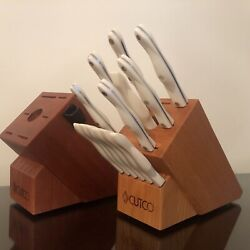 Cutco Galley Factory Sharpened Pearl White Knife Set 14 Pc Shiny Oak Or Cherry