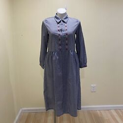 Jupe By Jackie Dress Women's Sz Xl Blue Gingham Cotton Battle Embroidered