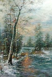 Winter Forest Landscape Signed By Rodrigo Heavy Texture Wall Art Painting