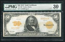 Fr. 1199 1913 50 Fifty Dollars Gold Certificate Currency Note Pmg Very Fine-30