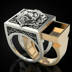 2 In1 Two Tone Lion King Rings For Men Coffin Storage Ring Gothic Punk Jewelry