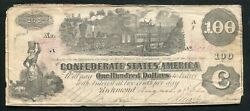 T-39 1862 100 Csa Confederate States Of America Currency Note Andldquotrainandrdquo B