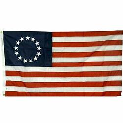 3x5and039 Betsy Ross 1st Stars And Stripes All- Weather Nylon Outdoor Flag - Made