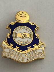Hayes And District Bowling Club Badge Pin Semper Amici Rare Vintage