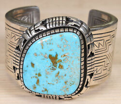 Tony Chino Acoma Pueblo Sterling Silver And Turquoise Cuff Bracelet Djdd Cx436d