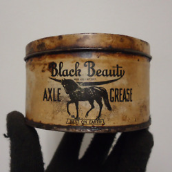 Vintage Black Beauty Axle Grease Can Lubricant Tin Advertising National Refining