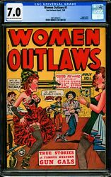 Women Outlaws 1 Cgc 7.0 Fn/vf 1948 Fox Features Syndicate Golden Age
