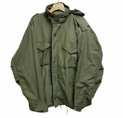 Vintage Army Military Field Og 107 Cold Weather Camo Jacket Size Xl Hood