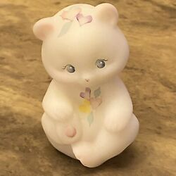 Fenton Art Glass Hand Painted Satin White Bear With Hearts 3 1/2 Inches Tall