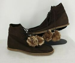 New Free People Brown Suede Lace Up Faux Fur Pom Pom Crepe Sole Ankle Boots 10