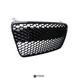Fit For 07-12 R8 Mk1 Car Grille Grill Insert Full Honeycomb Front Glossy Black