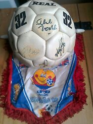 England 1982 World Cup Squad Signed Vintage Mitre Football With 1982 Pennant.