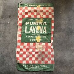 Vintage Advertising Cloth Bag Feed Purina Layena Checkers 100 Lbs As Is Dirty