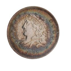 1835 Capped Bust Half Dime Au Almost Uncirculated Rainbow Toning Ac256