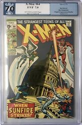X Men 64 - Pgx Fn/vf 7.0 1st Sunfire Key Cents Ow/w Pages Cgc