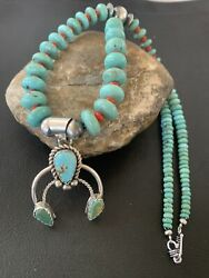Native Navajo Sterling Silver Blue Turquoise Coral Pendant Necklace Naja02081