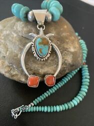 Native Navajo Sterling Silver Blue Turquoise Coral Pendant Necklace Naja02082