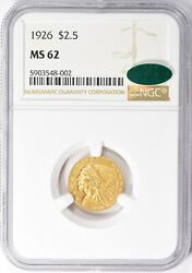 1926 Indian Head Quarter Eagle 2.5 Gold Ngc Ms62 Cac