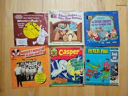 Vintage Children's Disney/peter Pan Records And Book 33 Rpm And 45 Rpm Lot