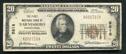 1929 20 The First National Bank Of Barnesboro, Pa National Currency Ch. 5818