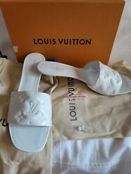 Louis Vuitton White Monogram Embossed Revival Leather 2in Hill Sandal Mule 40eu