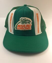 Vintage Miami Hurricanes Mesh Snapback Hat Large Lucky Stripes Made Usa Trucker