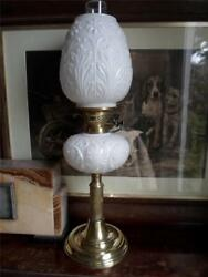 Victorian Reeded Column Duplex Oil Lamp With Milk Glass Font And Shade