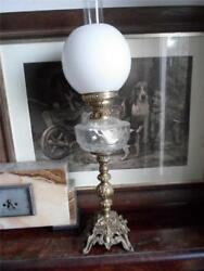 Gilt Metal Oil Lamp With Ripple Glass Font And Opaque Shade