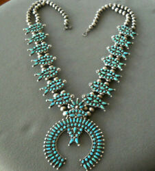Old Native American Turquoise Cluster Sterling Silver Squash Blossom Necklace