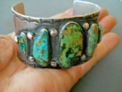 Native American Blue And Green Royston Turquoise Row Sterling Silver Cuff Bracelet
