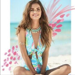 Lilly Pulitzer Greer Romper Multi Beach And Bae Size Small EUC $61.00