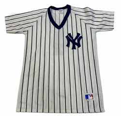 Vintage 80s New York Yankees Sand Knit Striped Baseball Jersey Youth Large 4