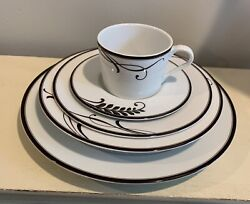 Mikasa Cocoa Blossom Service For 4 Bowls Plates Cup Saucer 20 Pieces