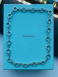 """And Co. Alternating Circle Clasping Link Necklace 20"""" Sterling Silver"""