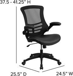 Pro Swivel Office Chair With Wheels And Mid-back Black Mesh And Leathersoft Seat