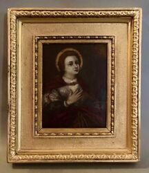 Framed Antique Latin American Religious St. Lucy Martyr Eyes Retablo Painting