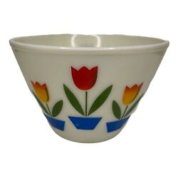 Fire King Oven Ware White Milk Glass Mixing Bowl Tulip Pattern 9.5 Vguc