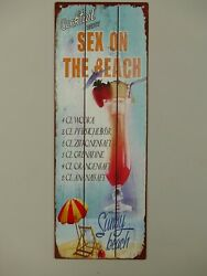 9977669 Mural Tin Sign Vintage Cocktail Sex On The Beach 14 3/16x5 1/8in