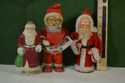 3 Santa Figures. One Wind-up Probably 1950and039sone Clothone Plaster