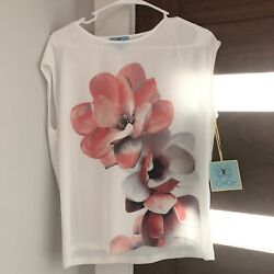 NWT Nordstrom CeCe Floral Blouse Top Womens Sz S $22.99