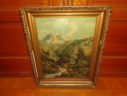 Antique Oil On Canvas Painting Of A Stream Landscape Signed Ida Sweet