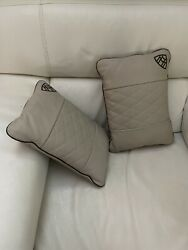 2016 2 New Cream Leather Maybach Pillows Mercedes Benz Authentic/ Brand New Real