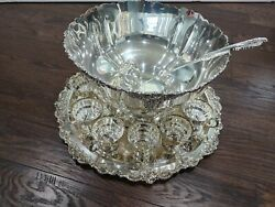 Wallace Baroque Silverplate 16 Pc Punch Bowl Set 13 Cups 21 Tray And Ladle