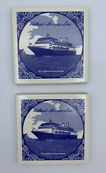 Pair Of Holland America Cruise Line Blue And White Tiles In Original Packaging